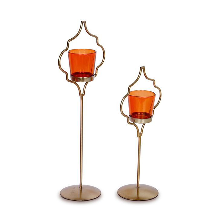 Hometown Corona Single Votive Candle Holder Orange And Gold,Candle Holders