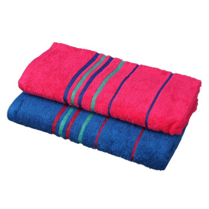 Emilia Bath Towel Blue & Fuchsia,Bath Towels