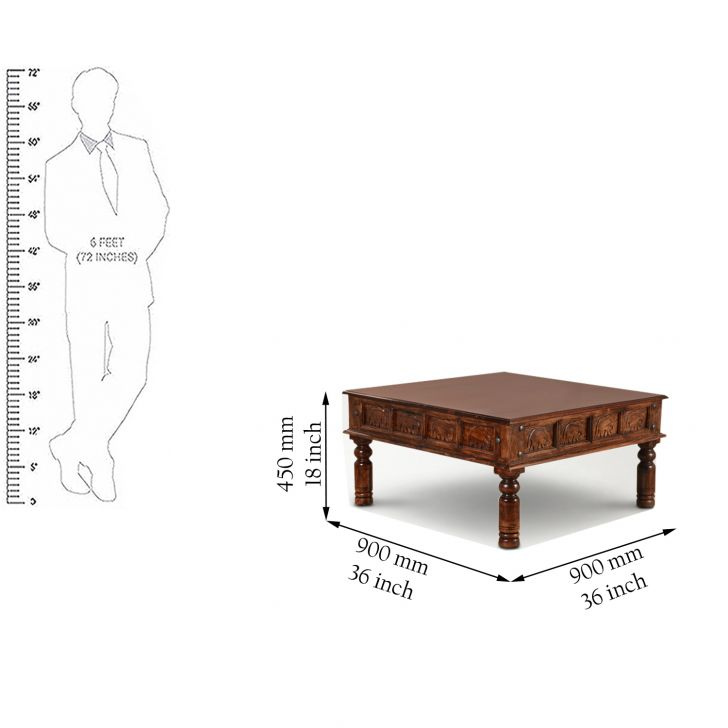 Tuskar Solidwood Centre Table in Walnut Finish,Coffee Tables