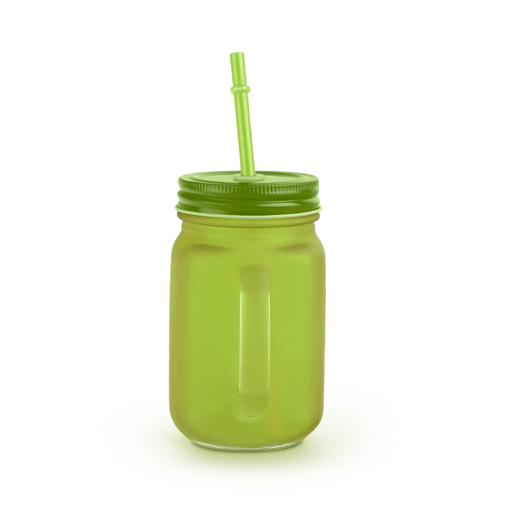 Living Essence Frosted Mason Glass Jar Lime 450 ml,Mason Jars