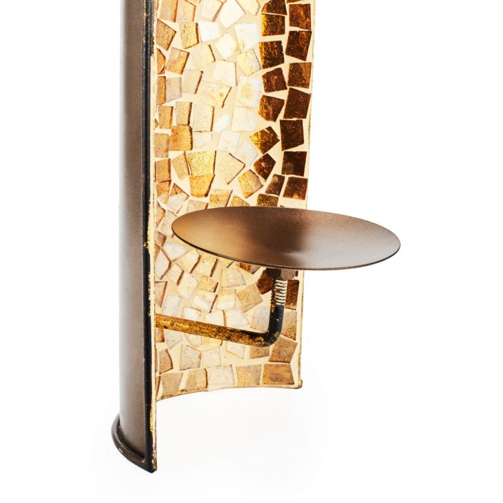 Ahana Vertical Mosaic Window Sconnes  Gold,Candle Holders