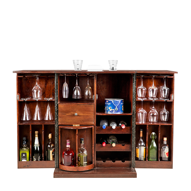 Nordic Openable Bar Unit Chest Nut,Bar Cabinets