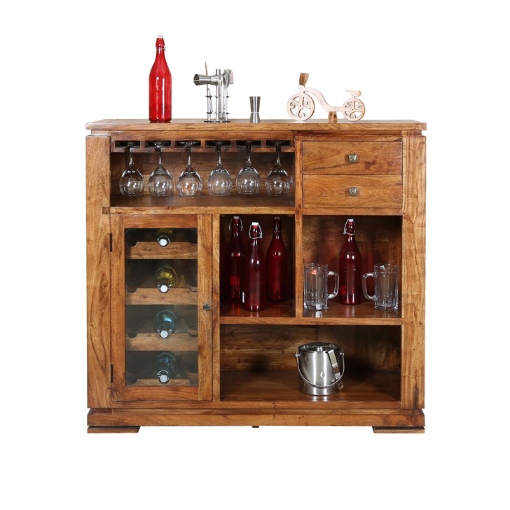 Best Place To Buy Kitchen Cabinets Online: Buy Leopold Bar Cabinet In Walnut Finish Online In India