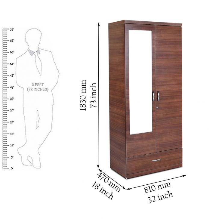 Ultima Two Door Wardrobe with Mirror in walnut Colour,The Big Summer Sale