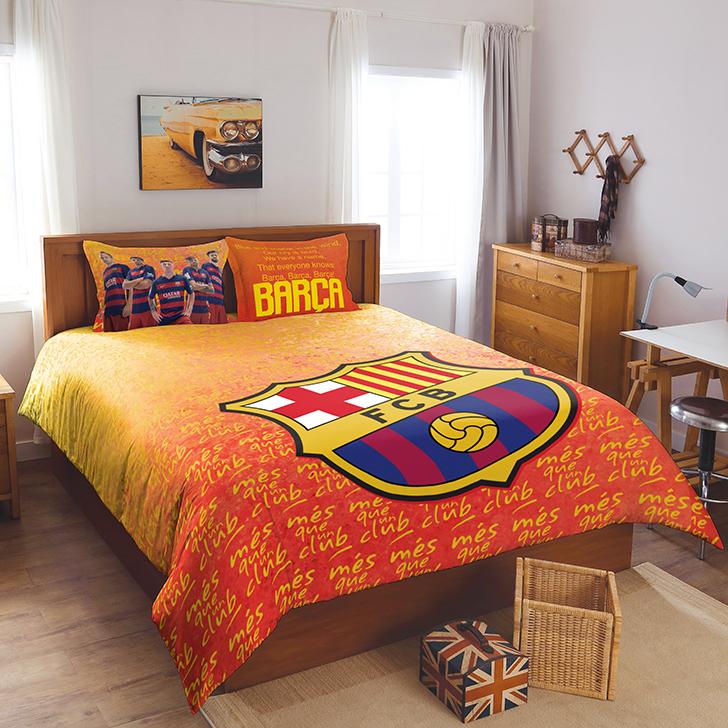 Superb Spaces Fcb Crest Orange Double Size Bed Sheet Set,Double Bed Sheets
