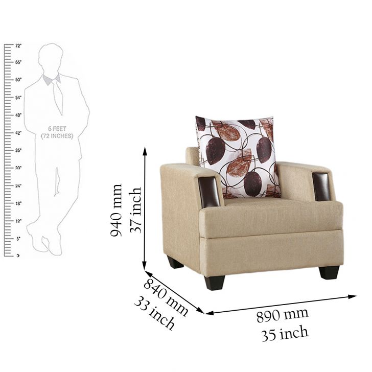 Elanza Royale Fab One Seater Sofa in Beige Colour,Furniture