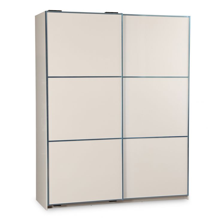 Fidora High Gloss Sliding Wardrobe in White Finish,All Wardrobes