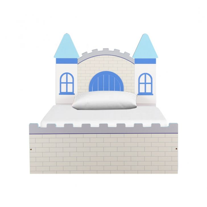 Castle High Gloss Kids Bed With Storage Blue,Bedroom Furniture