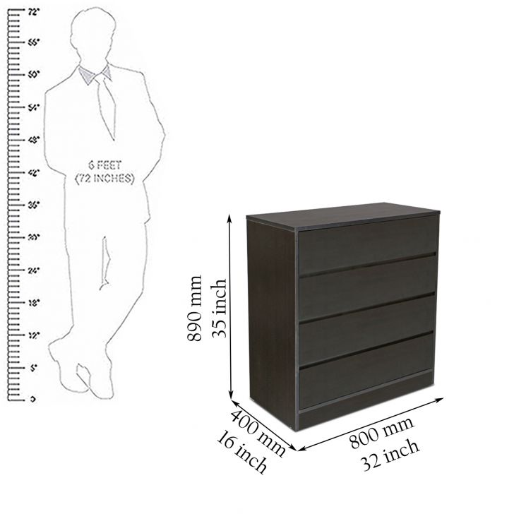 Basic Chest Of Four Drawers in Wenge Colour,Chest of Drawers