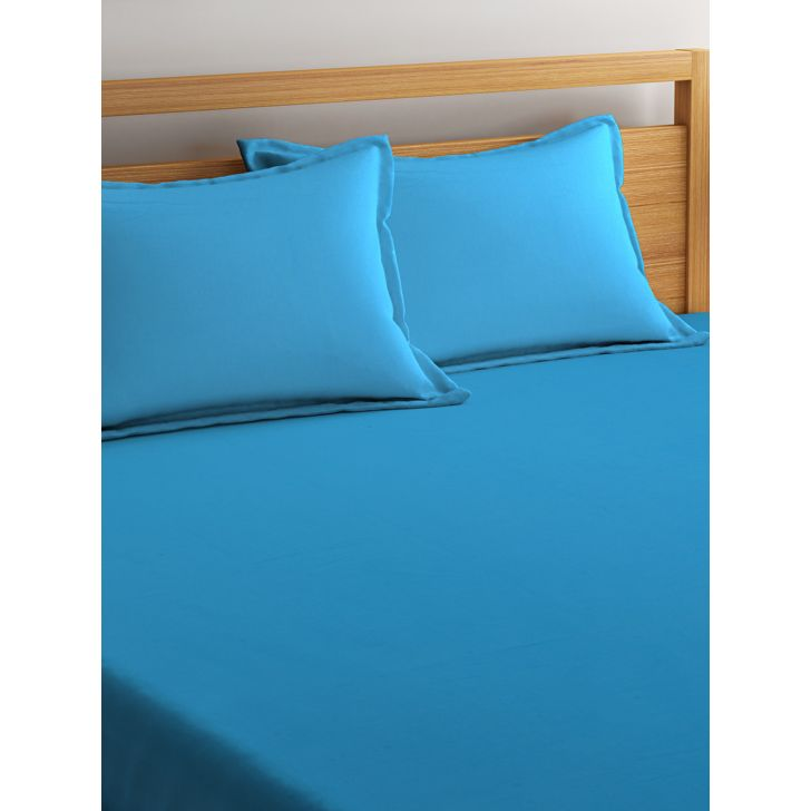 Portico Percale Bedsheet Blue,Double Bed Sheets