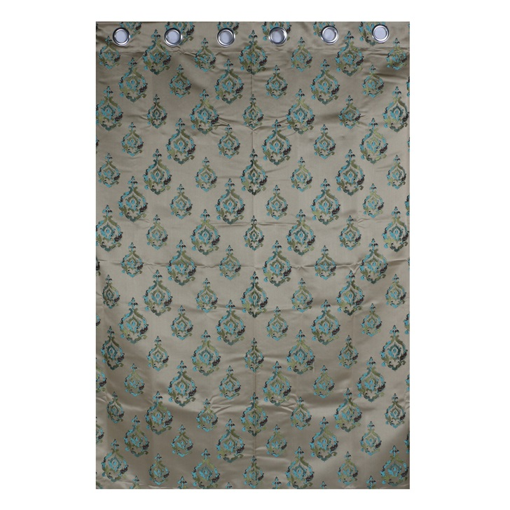 Living Essence Teal Blue Polyester Window Curtain 2 Pcs,Window Curtains