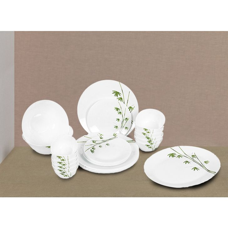 Diva Glassware Green Foliage Ivory Dinner Set 27 Pcs,Dinner Sets