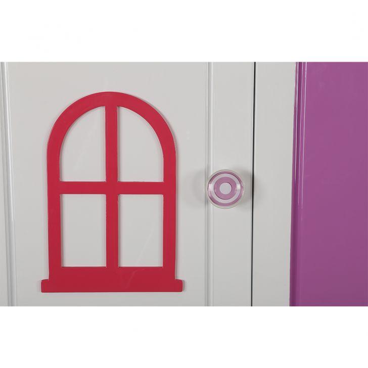 Castle Three Door Wardrobe in Glossy White & Pink Finish,All Wardrobes