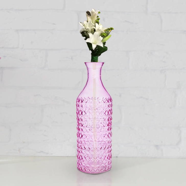 Ezra Emb Bottle Vase 30Cm Pink,Glass Vases