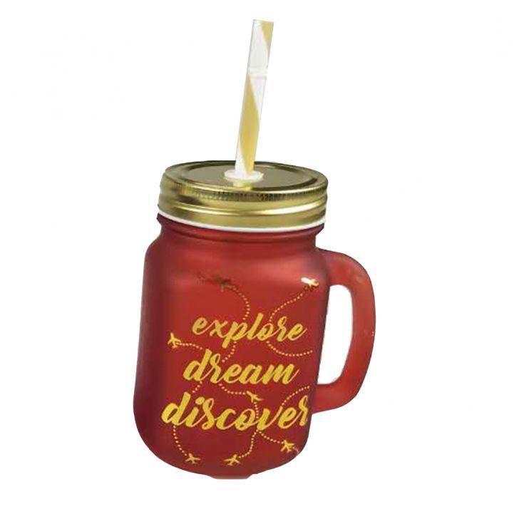 Love To Travel Golden Mason Jars Set Of Two,Mason Jars