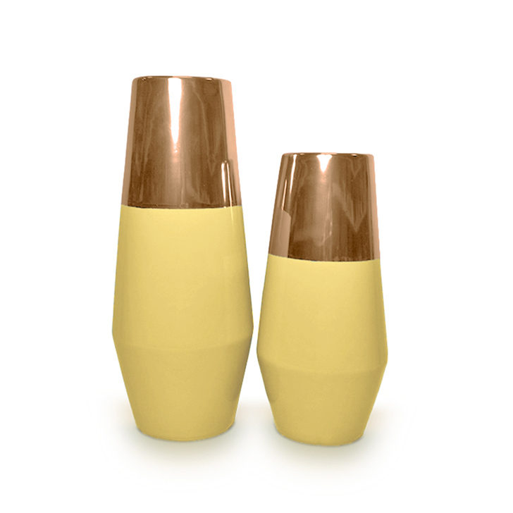 Hometown Zeba Metal Top Ceramic Conical Vase Yellow And Bronze,Vases