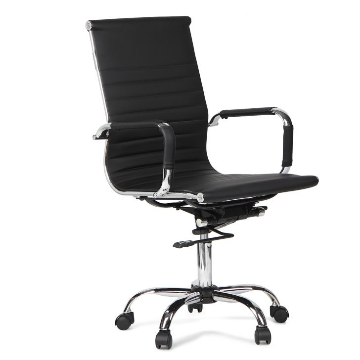 Astra Medium Back Pu Chair in Black Colour,Office Chairs