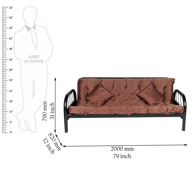 Buy rockford metal sofa cum bed in mauve colour online in for Sofa bed 74 inches