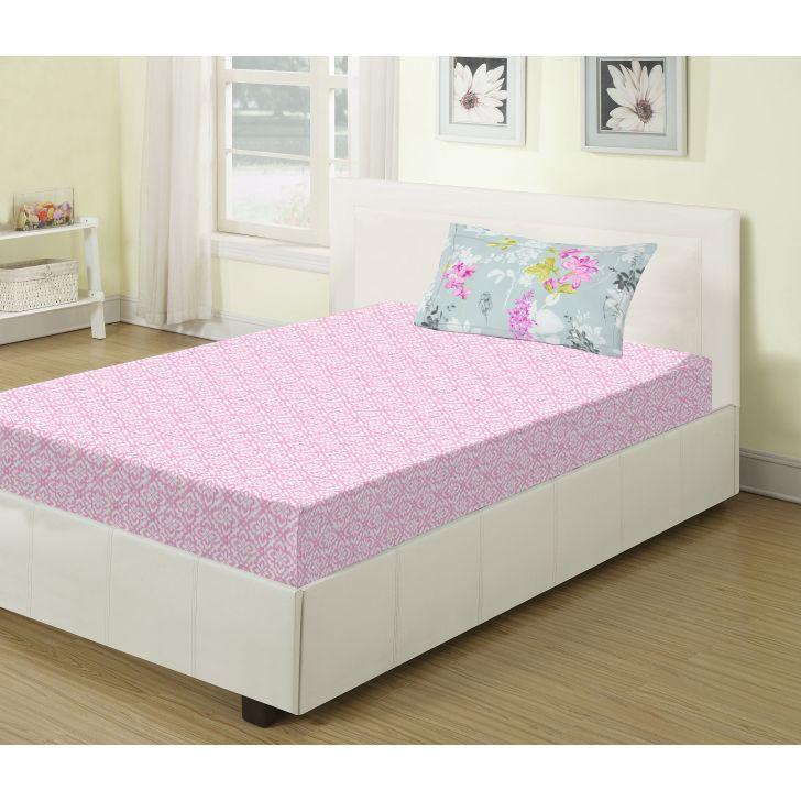 Living Essence Emilia Single Bedsheet Set Pink,Single Bed Sheets
