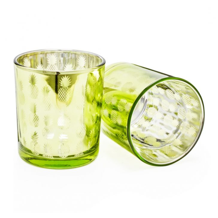 Zahara Set of 2 Glass Pineapple Candle Holder Assorted,Candle Holders