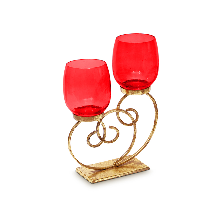 HomeTown Bling Scroll Iron And Glass 2 Votive Candle Holder Red,Candle Holders