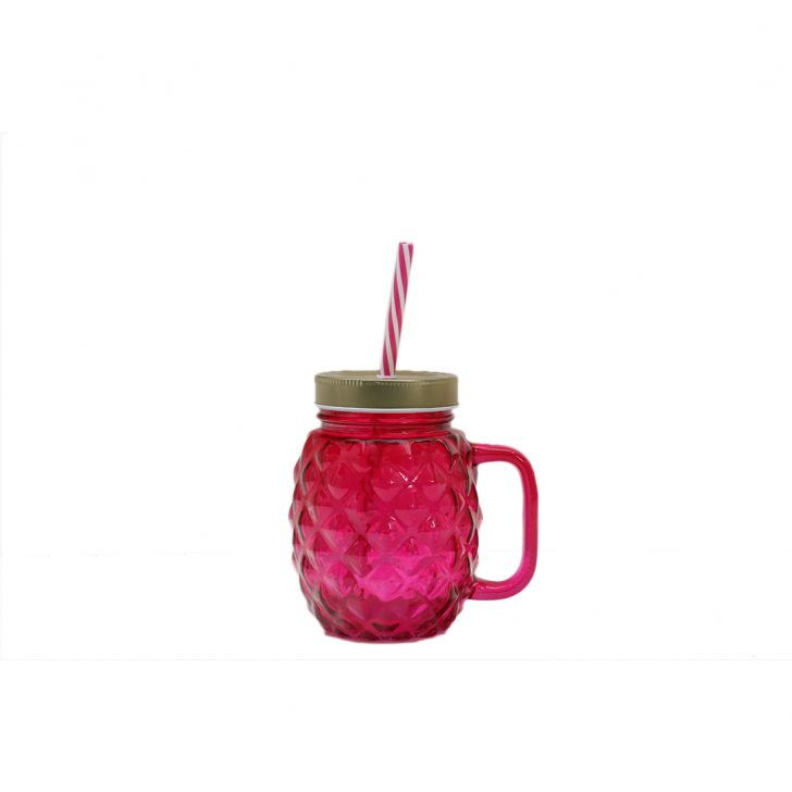 Pineapp Gold & Pink Juice Jar,Sippers