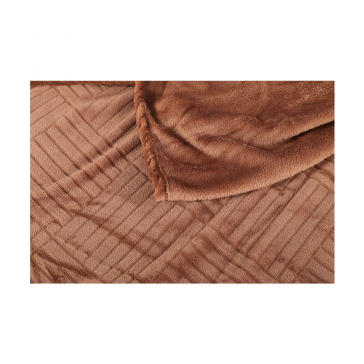 Fleece Blanket 160X220 Checks Mocha,Quilts/Blankets