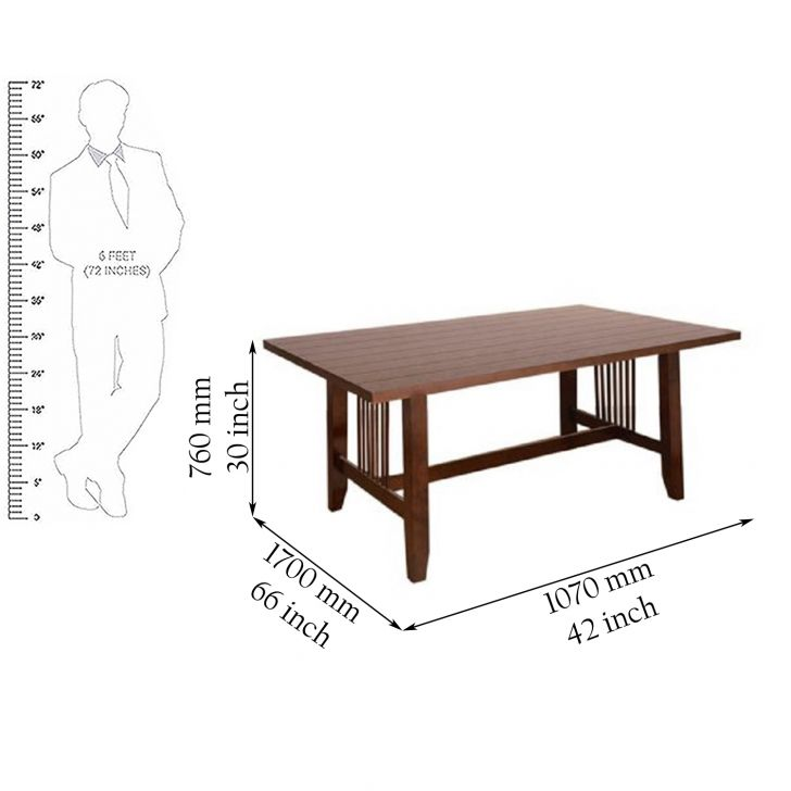 Phacelia Six Seater Dining Table in Dark Walnut Finish,6 Seater Dining Table