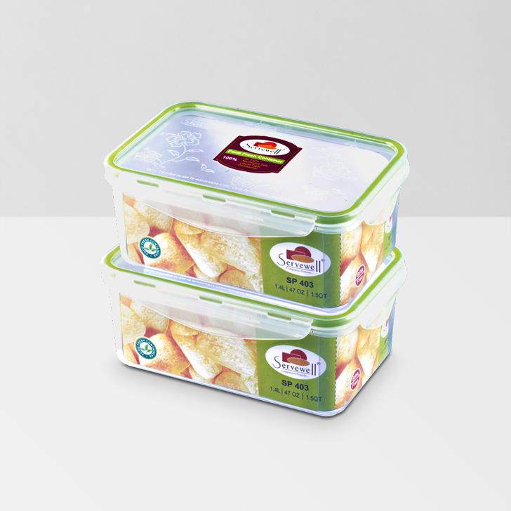 Servewell Rectangle Food Fresh Container 1400 ml 2 Pcs,Lock Storage
