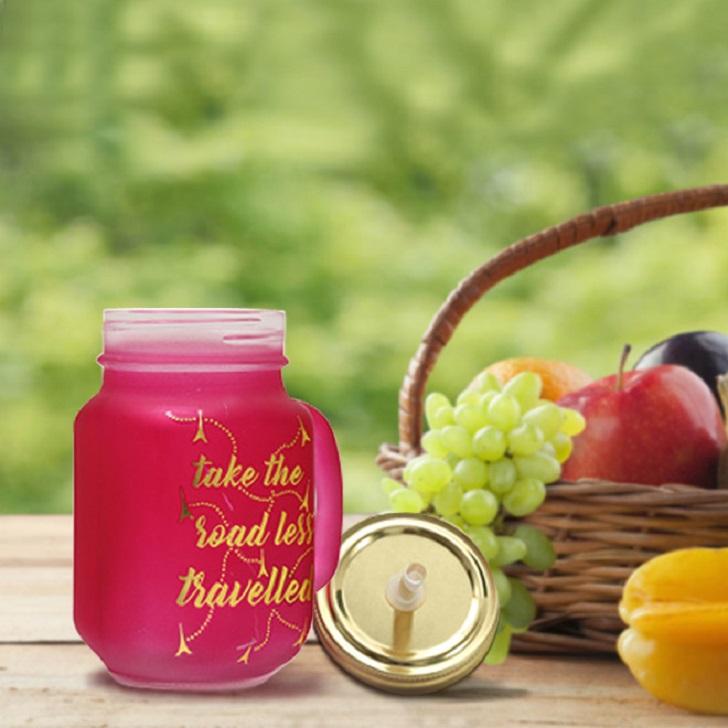 Love To Travel Golden Pink Mason Jar,Mason Jars