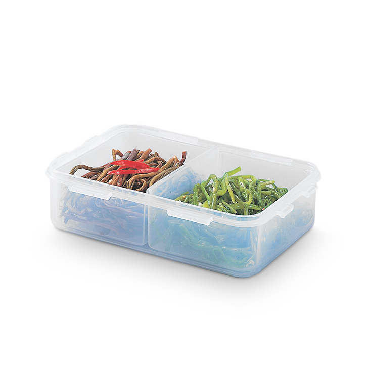 Lock & Lock Classics Short Rectangular Food Container With Divider 550 ml,Containers