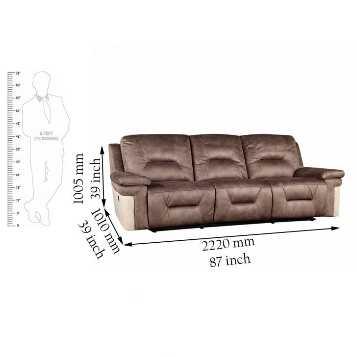 Jupiter Fabric 3 Seater Recliner,Recliners