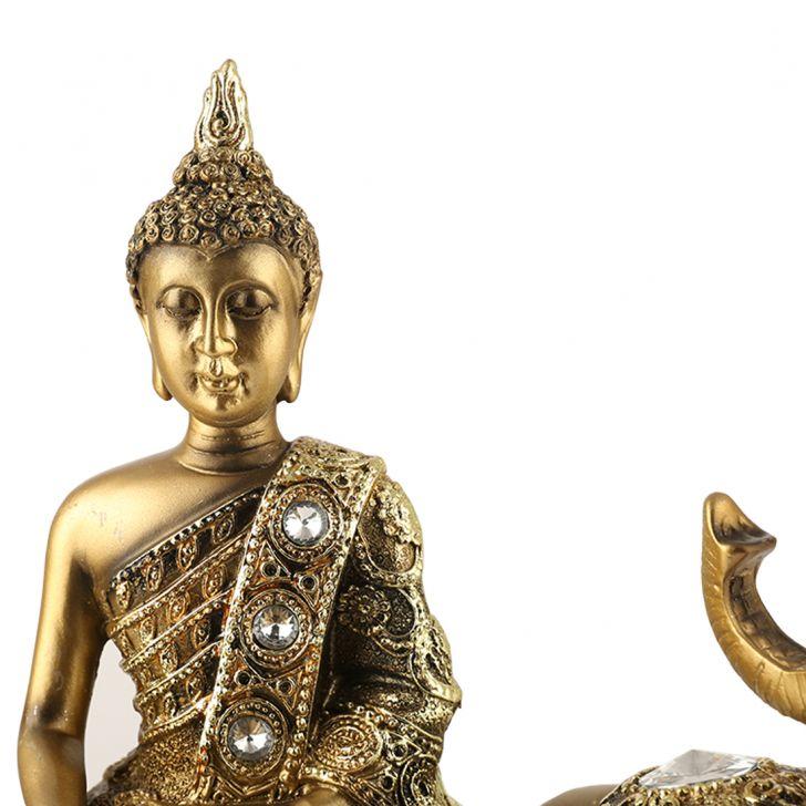 Fio Sitting Buddha On Elephant Figurine,Figurines
