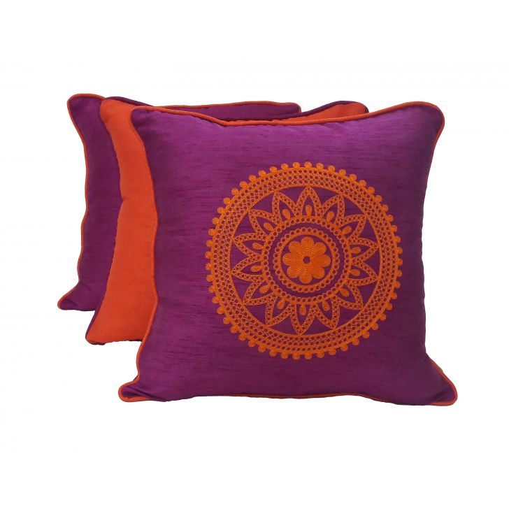 Living Essence Set Of Three Cushion Cover 16X16 Fiesta Magen Orange,Covers & Inserts