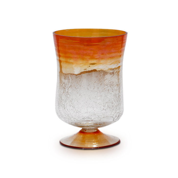 HomeTown Ariel Glass Hurricane Candle Holder Orange Lustre,Candle Holders
