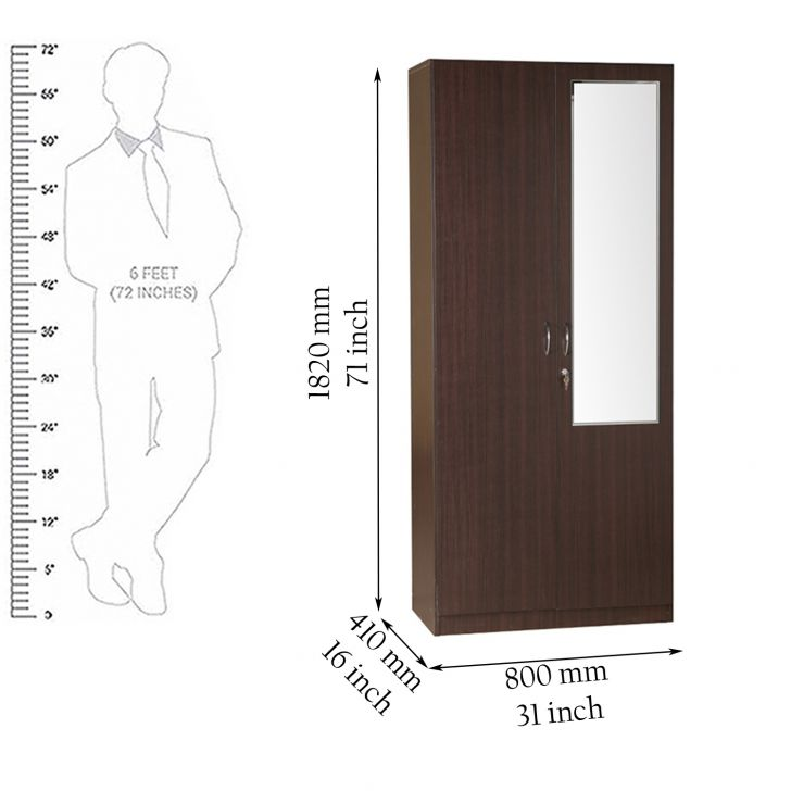 Zina Two Door Wardrobe With Mirror,2 Door Wardrobes