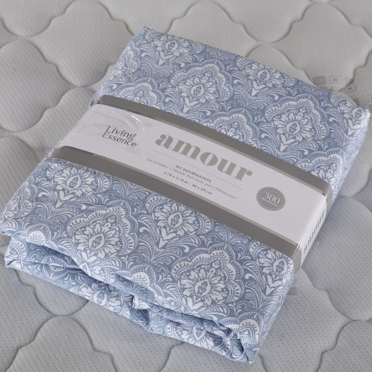 Amour Double Bed Sheet Set Blue,Double Bed Sheets