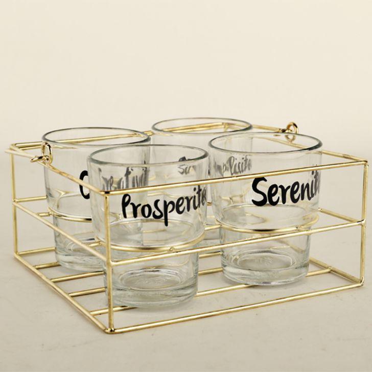 LE TYPO TEA TUMBLERS SET OF 4 W STND,Glasses & Tumblers
