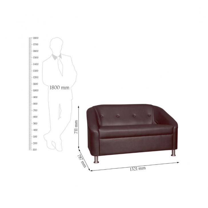 Belfast Leatherette Two Seater Sofa Brown,HomeTown Best Sellers