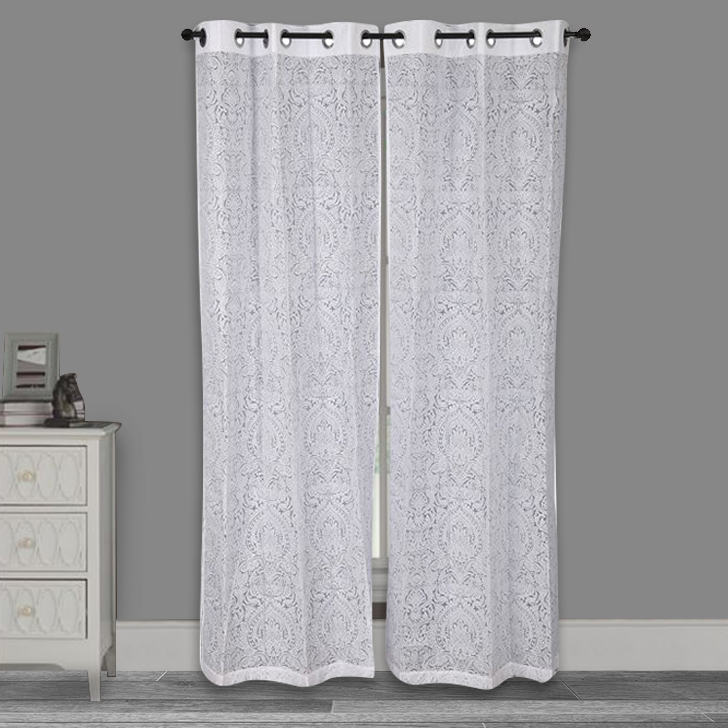 Amour sheer Door Curtain Off White Set of 2,Door Curtains