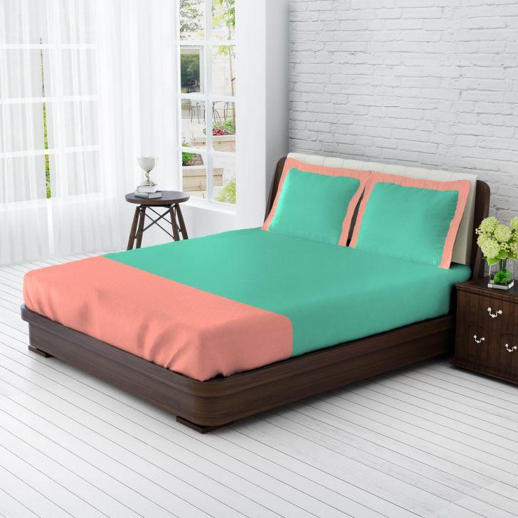 King Bedsheet Aqua & Rose Blue,King Size Bed Sheets