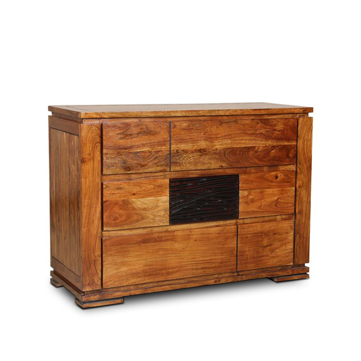 Leopold Chest of Drawers in Walnut & Black Colour,Kitchen Cabinets