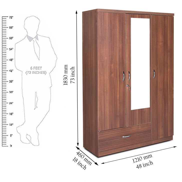 Ultima Three Door Wardrobe with Mirror in walnut Colour,Furniture