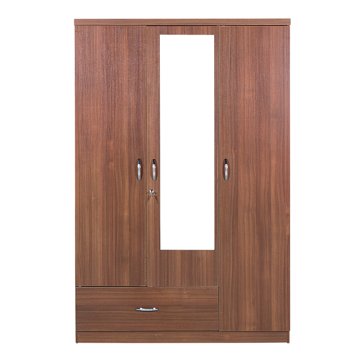 Ultima Three Door Wardrobe With Mirror Regato Walnut,Furniture