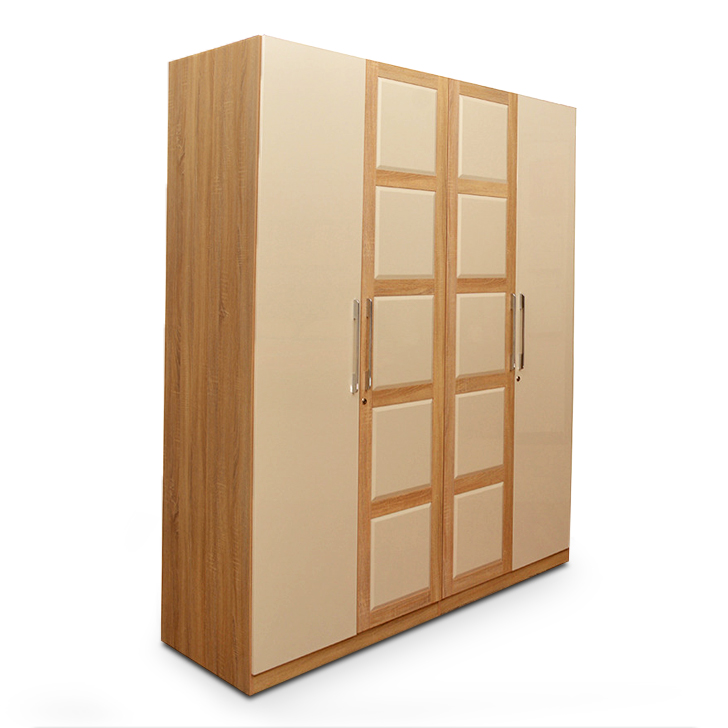 Geo Four Door Wardrobe in Beige N Cream Colour,All Wardrobes