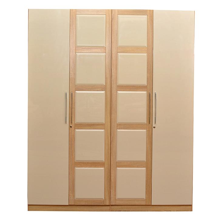 Geo Wardrobe Beige And Cream,4 Door Wardrobes