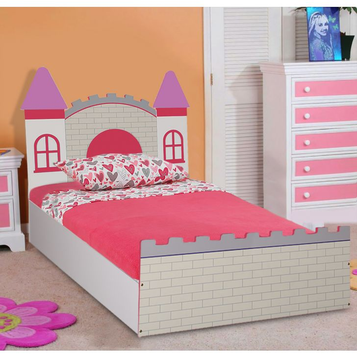 Castle High Gloss Kids Bed With Storage Pink,Bedroom Furniture