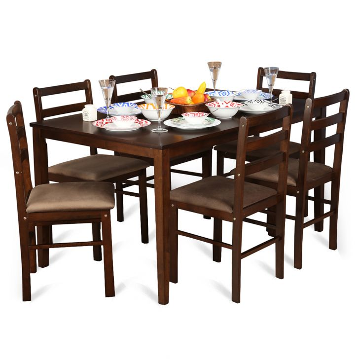 Magix Six Seater Dining Set in Dark Walnut Finish,6 Seater Dining Sets