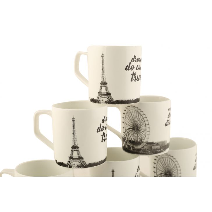 Travel Love Set Of 6 Teamugs,Cups & Saucers
