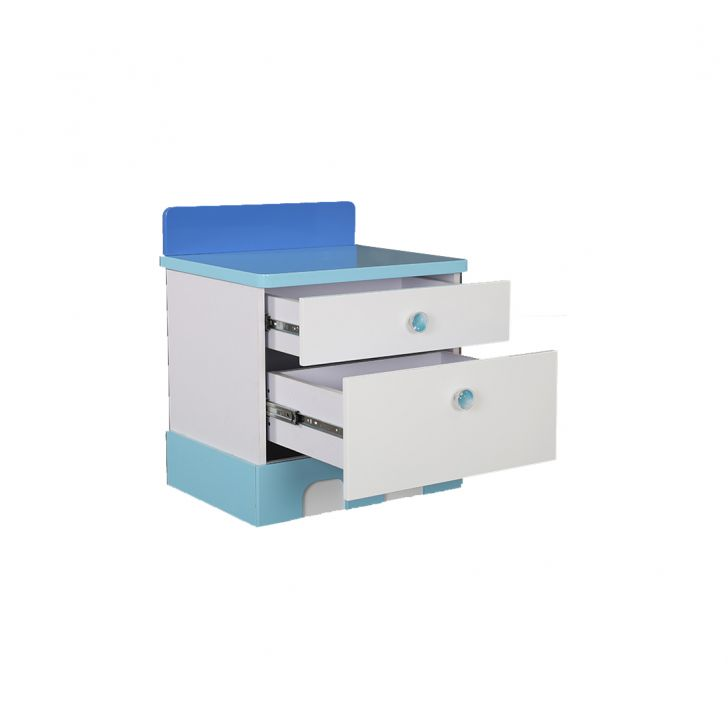 Castle Bedside Table in Glossy White & Blue Finish,Bedside Tables